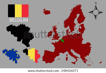 Belgium - Three contours, Map of Europe and flag vector