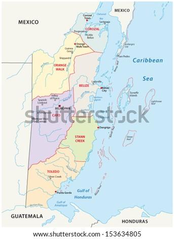 Honduras Administrative Political Vector Map Flag Stock Vector