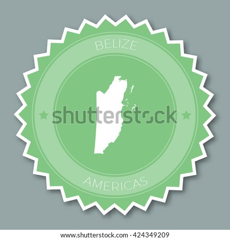 Belize badge flat design. Round flat style sticker of trendy colors with country map and name. Country badge vector illustration. - stock vector