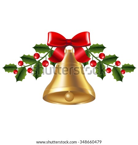 Bell With Holly Berry With Gradient Mesh, Vector Illustration - stock vector