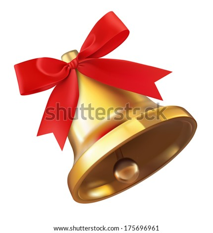 Bell with red bow isolated on white background. Detailed vector illustration. Realistic. Print quality. - stock vector