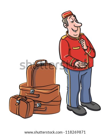 Bellboy in uniform - vector - stock vector