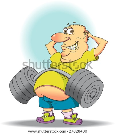 Belly Buster - A middle aged man showing there's more than one way to exercise your ads. - stock vector