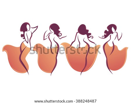 Belly Dance Vector Collection Dancing Girls Stock Vector 388248487