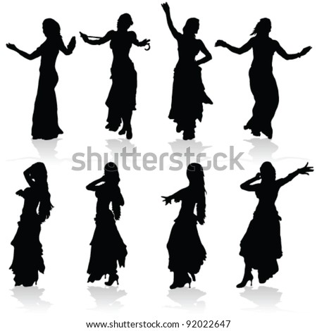 belly dancing black woman silhouette on white - stock vector