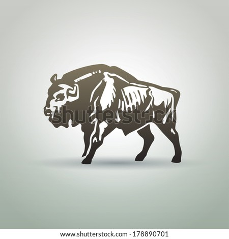 Belorussian aurochs symbol isolated on white background - stock vector