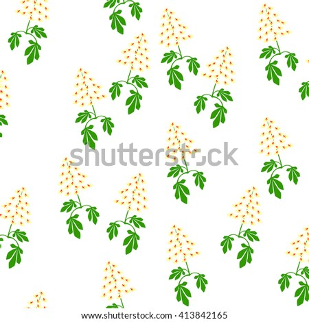 below branch of blossoming chestnut in a pattern on a white background