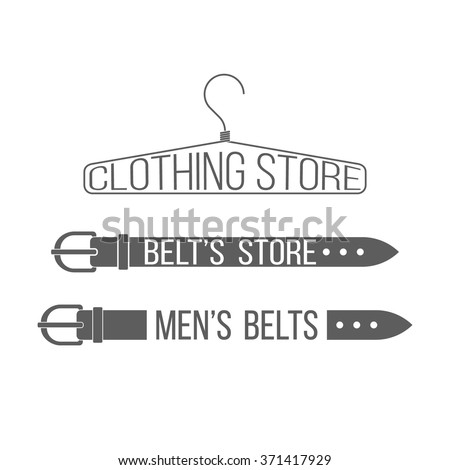 Belt's store logotype. Men's belts badge template. Clothing store label on white background. Use for men's clothing shop advertising, window signage. Clothing store emblem, icon. Vector illustration. - stock vector