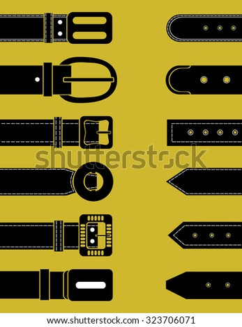 Belts for clothing. Schematic image. Vector illustration
