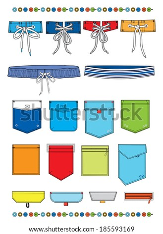 belts,pockets and buttons for shorts - stock vector