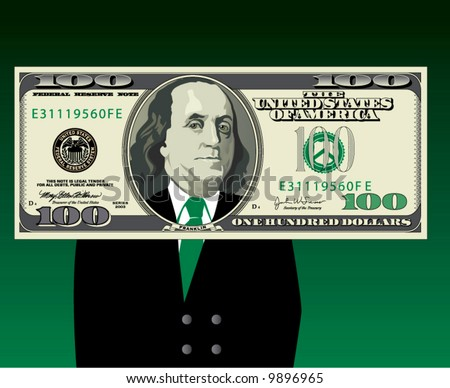 Ben Franklin in a business suit framed by a hundred dollar bill - stock vector