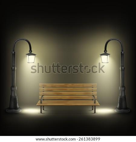 Bench Illuminated By Street Lamps. Vector Illustration. - stock vector