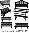 bench silhouette - vector - stock photo