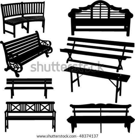 bench silhouette - vector - stock vector