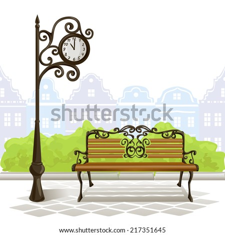 bench, street clock, old town. vector illustration - stock vector