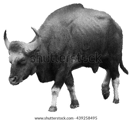 Benday dot vector illustration of a muscular Gaur bull, scientifically known as Bos Gaurus.  - stock vector