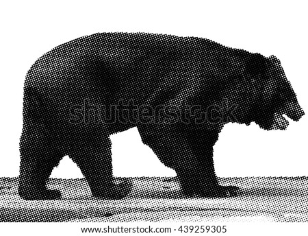 Benday dot vector illustration of a prowling Brown Bear.  - stock vector