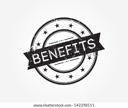 benefits. black stamp sign