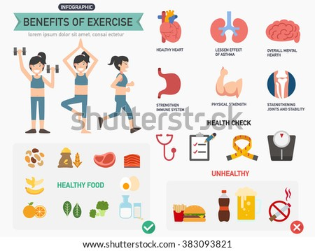Benefits of exercise infographics.vector illustration. - stock vector