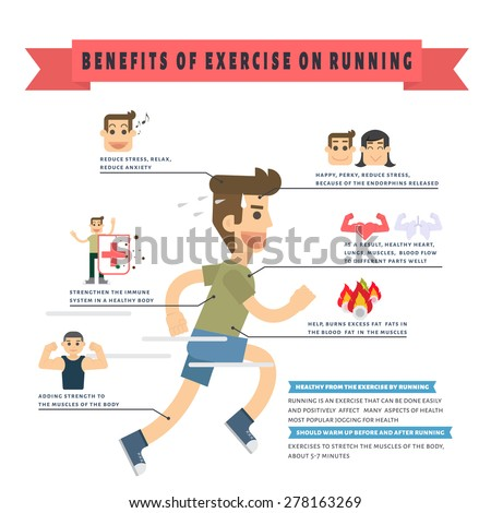 benefits of exercise on running infographics.vector - stock vector