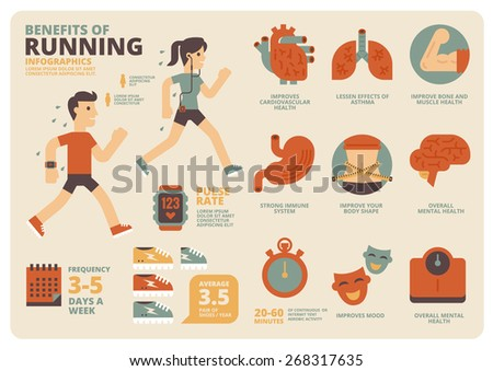 Benefits of Running Infographics - stock vector