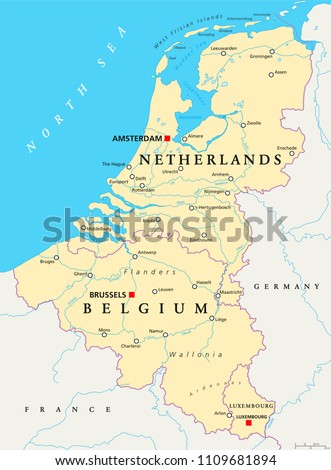 belgium netherlands and luxembourg political map with capitals borders and important