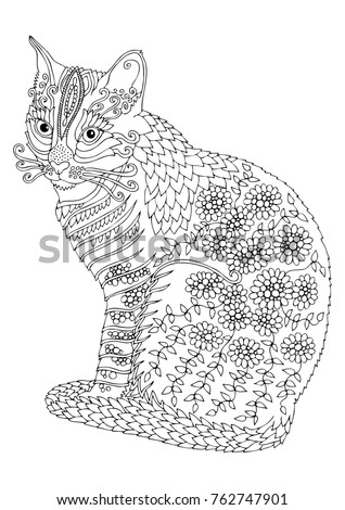 Bengal Cat Hand Drawn Picture Sketch For Anti Stress Adult Coloring Book In