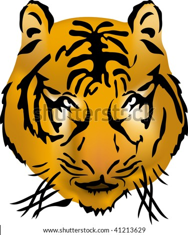 Bengal tiger head, vector illustration