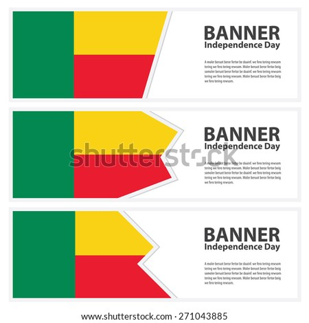 benin  Flag banners collection independence day - stock vector
