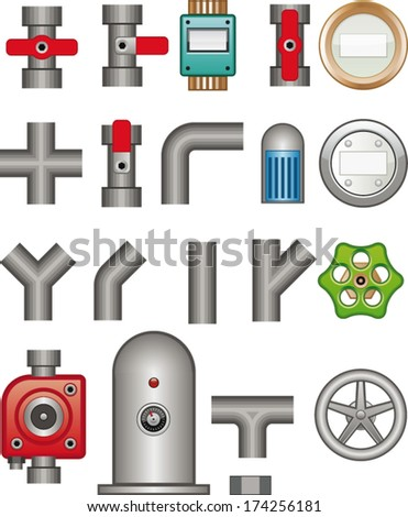 Bent pipes - stock vector
