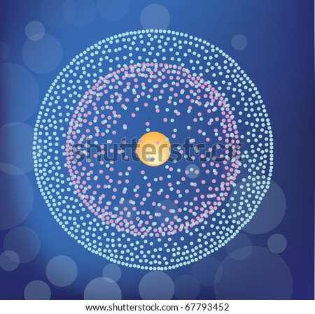 berillium atom structure on the blue background - stock vector