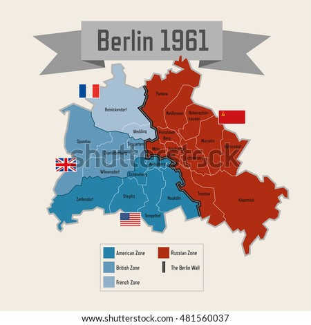Berlin germany cold war division zones vector de stock481560037 berlin germany cold war division with zones gumiabroncs Choice Image