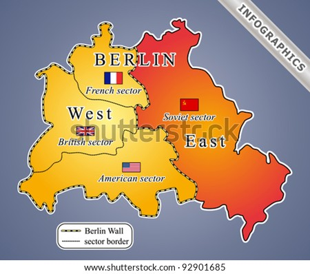 Berlin Map During Cold War Including The Berlin Wall Infographics Map Fully Editable Vector