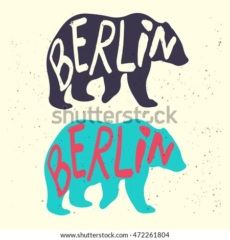Berlins Symbol Bear Handdrawn Lettering Stock Vector 472261804