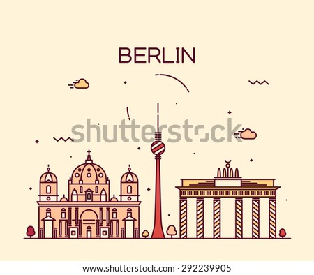 Berlin skyline, detailed silhouette. Trendy vector illustration, linear style. - stock vector