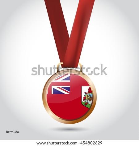 Bermuda Flag in Bronze Medal. Olympic Game Bronze Medal. Vector Illustration - stock vector