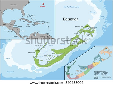 Bermuda is a British Overseas Territory in the North Atlantic Ocean, located off the east coast of North America. - stock vector