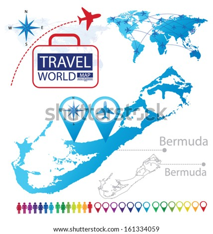 Bermuda. World Map. Travel vector Illustration. - stock vector