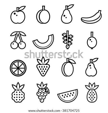 Berries and fruits set, black and white vector illustration - stock vector