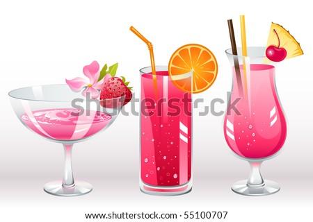 berries cocktails - stock vector