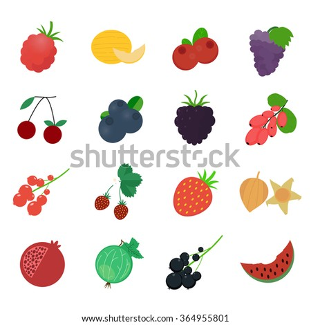Berries icons. Flat vector illustration.