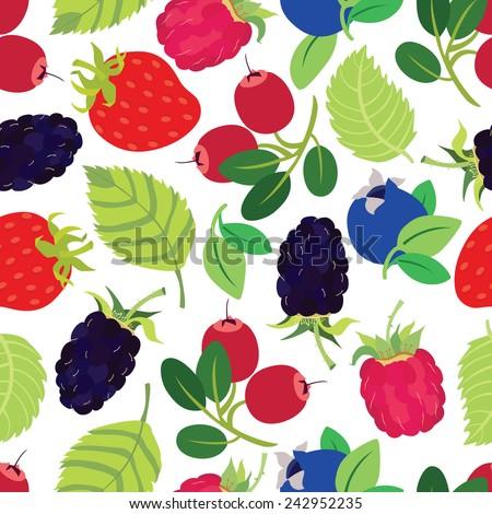 Berries seamless pattern - stock vector
