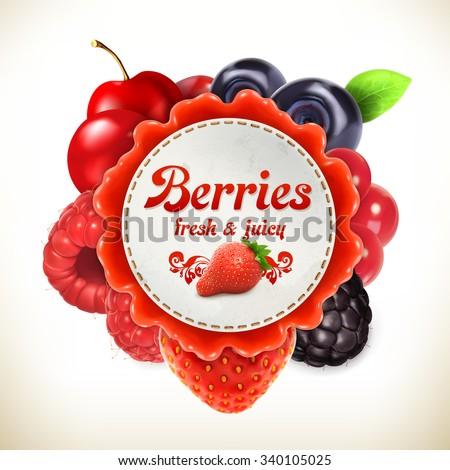Berries, vector label - stock vector