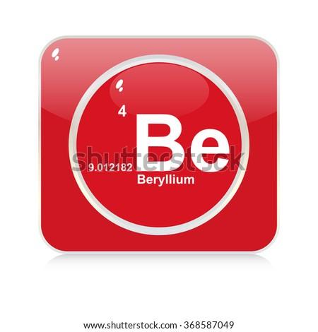 beryllium chemical element button - stock vector
