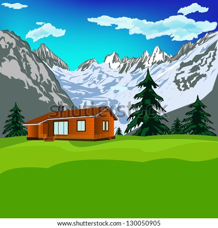 Best alps mountains resort with clean air.Mountains landscape.Vector
