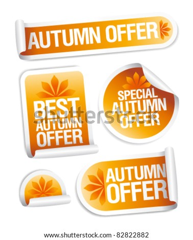 Best autumn offers stickers set. - stock vector