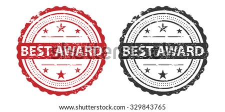 Best Award Grunge Stamp Red and Black Isolated on white