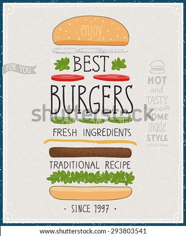 Best Burgers Poster - hand drawn style. Vector illustration. - stock vector