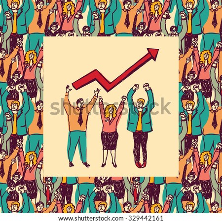 Best business team color card grow arrow. Big group business people and best team with grow arrow. Color vector illustration. EPS8 - stock vector