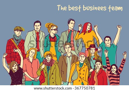 Best business team group happy color people. Color vector illustration. EPS8 - stock vector